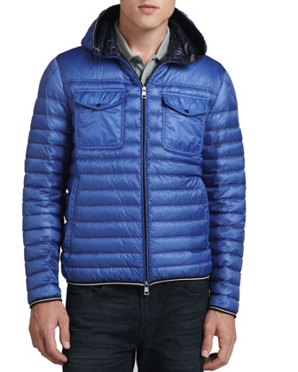 Hooded Puffer Jacket, Navy