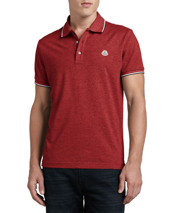 Short-Sleeve Tipped Logo Polo, Red