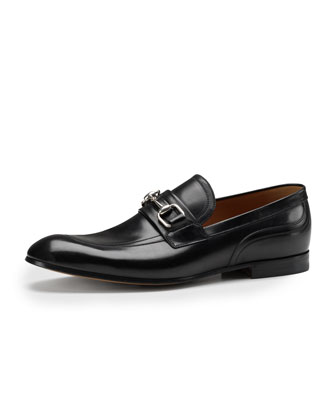 Square-Horsebit Leather Loafer, Black