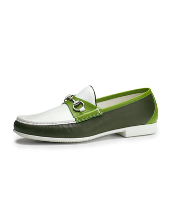Multicolored Leather Horsebit Loafer, Green