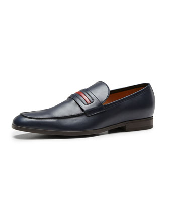 Leather Signature Web Loafer, Navy