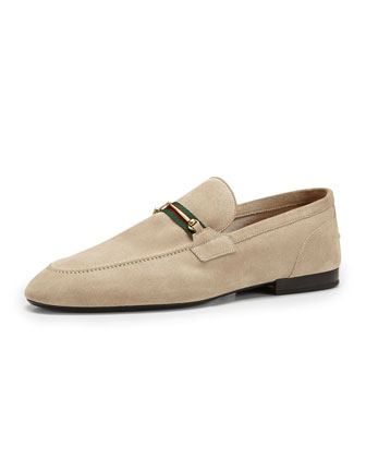 Suede Thin-Horsebit Loafer, Tan