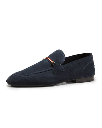Suede Thin-Horsebit Loafer, Navy