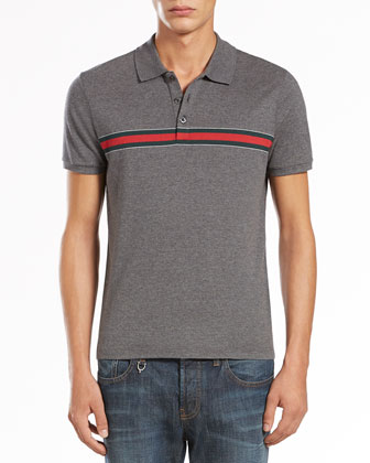 Jersey Polo with Web Stripe, Medium Gray