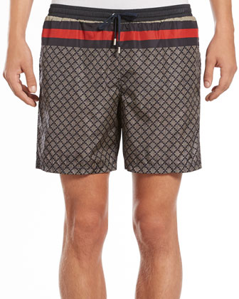 Diamante Swim Trunks, Navy/Tan