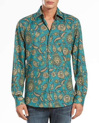 Paisley-Print Long-Sleeve Shirt, Green