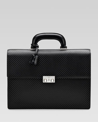 Men's Diamante Double-Gusset Briefcase, Black