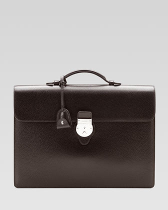 Pebbled Leather Briefcase, Brown