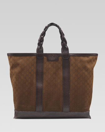 Men's GG Cotton Tote Bag, Brown