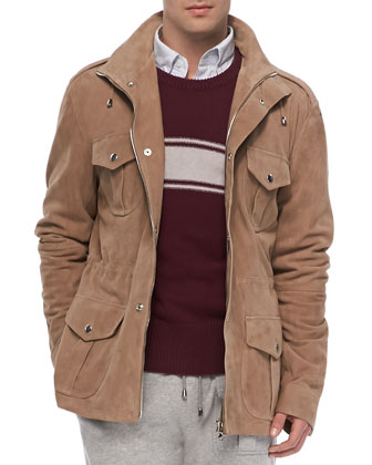 Suede Army Jacket, Tan
