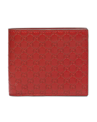 Microguccissima Leather Bi-Fold Wallet, Red