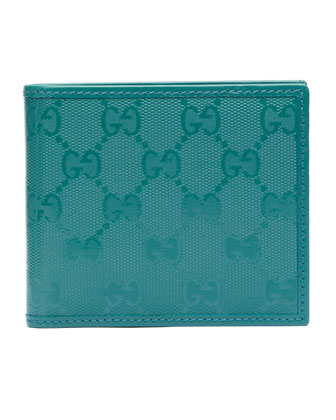 GG Imprime Leather Bi-Fold Wallet, Turquoise