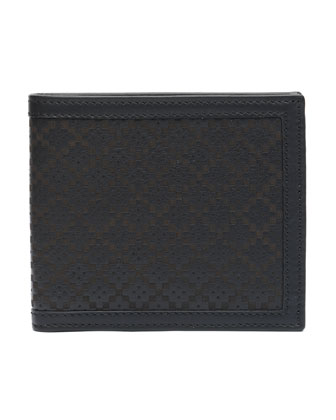Diamante Laser Leather Wallet, Black