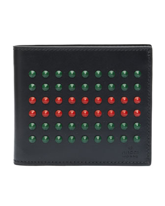 Studded Leather Bi-Fold Wallet, Black
