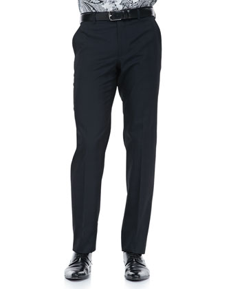Tonal-Box Evening Pants, Black
