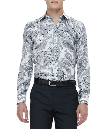 Paisley Sport Shirt, Black/White