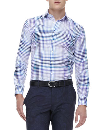 Ombre Gingham Sport Shirt, Blue/Purple