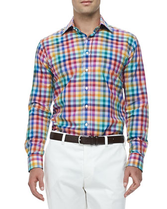 Rainbow-Gingham Sport Shirt, Multi