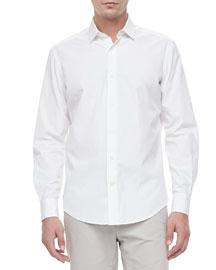 Slim-Cut Woven Dress Shirt, White