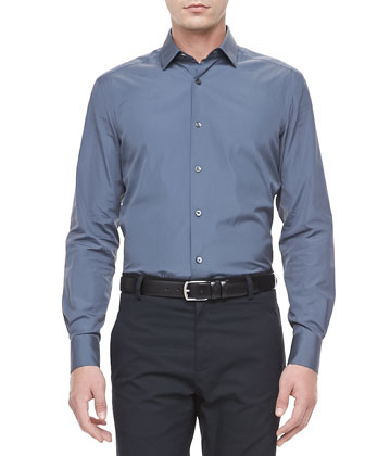 Slim-Cut Woven Dress Shirt, Slate Blue