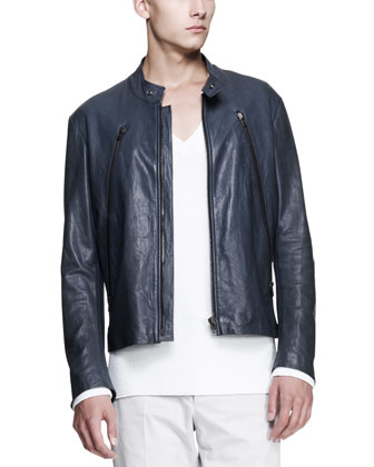Leather Motorcycle Jacket, Slate Blue