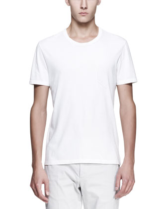 Crewneck Tee with Faux Pocket, White