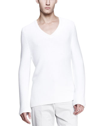 Long-Sleeve V-Neck Sweater, White