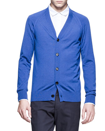 Cashmere Raglan-Sleeve Cardigan, Double-Collar Dress Shirt & Slim-Fit Trousers