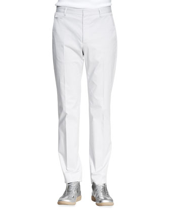 Slim-Fit Trousers, Light Gray