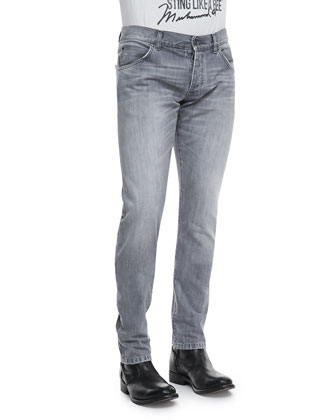 Washed Denim Jeans, Medium Gray