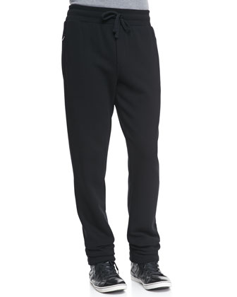 Sweatpants with Logo Plaque, Black