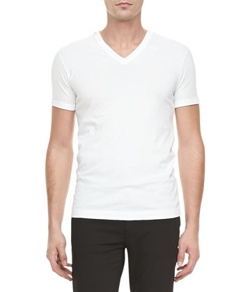 Basic V-Neck Tee, White