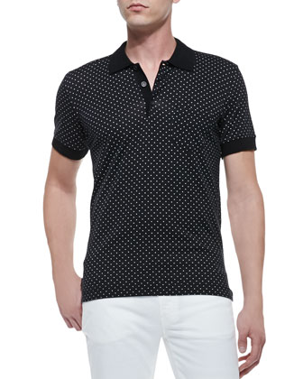 Dot-Print Knit Polo, Black