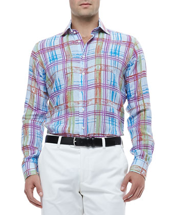 Gingham Linen Shirt with Multicolored Plaid & Flat-Front Pants