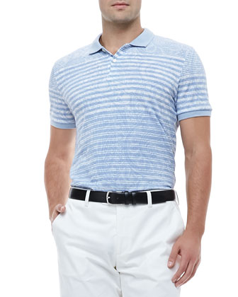 Paisley Striped Polo Shirt, Light Blue