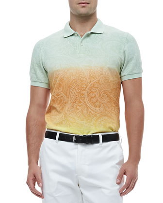 Degrade Paisley Polo, Green/Yellow
