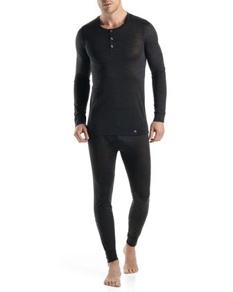 Light Merino-Silk Henley, Black