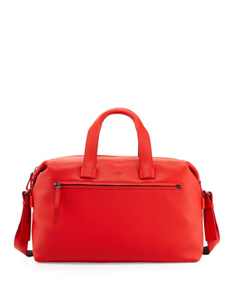 Men's Pebbled Leather Duffel Bag, Red