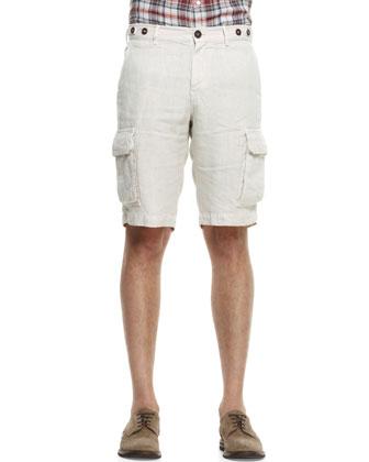 Linen Cargo Bermuda Shorts, Stone