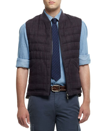 Windowpane-Check Vest, Purple
