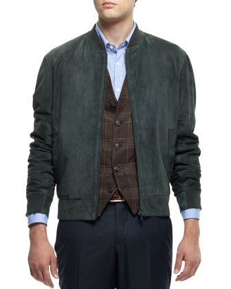 Suede Bomber Jacket, Linen-Blend Plaid Waistcoat, Washed Solid Long-Sleeve Shirt & Flat-Front ...