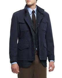 Brushed Cotton Safari Jacket, Navy