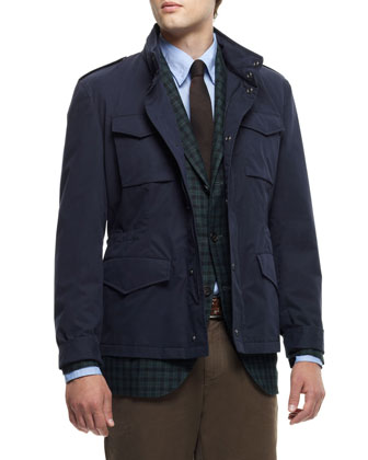 Brushed Cotton Safari Jacket, Daks Plaid Notch-Lapel Jacket, Chambray Shirt & Cotton Avio Pants