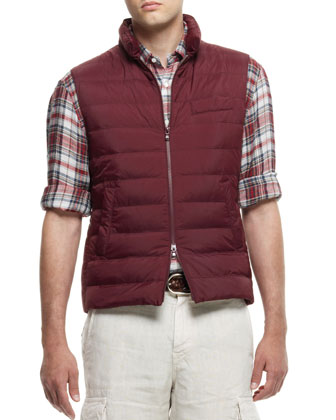 Quilted Nylon Vest, Red