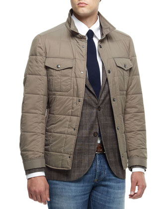 Quilted Nylon Short Jacket, Madras Check Notch-Collar Jacket, Button-Down Shirt & Lightweight ...