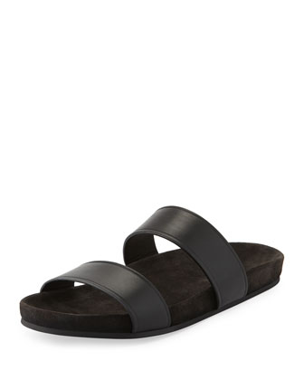 Men's Leather Double-Strap Slide Sandal, Black