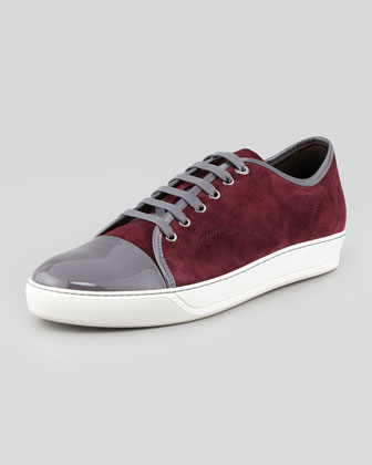 Two-Tone Suede & Patent Sneakers.