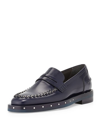 Leather Loafer with Metal Rings, Blue