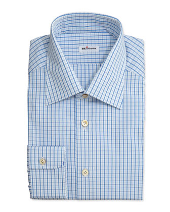 Box-Check Dress Shirt, Blue