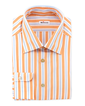 Track-Stripe Dress Shirt, Orange